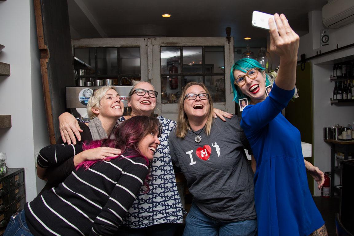 Red Hook crew grabs a selfie! Photo'd left to right: Kristin, Monica, Leisah, Kristen and below Gloria.