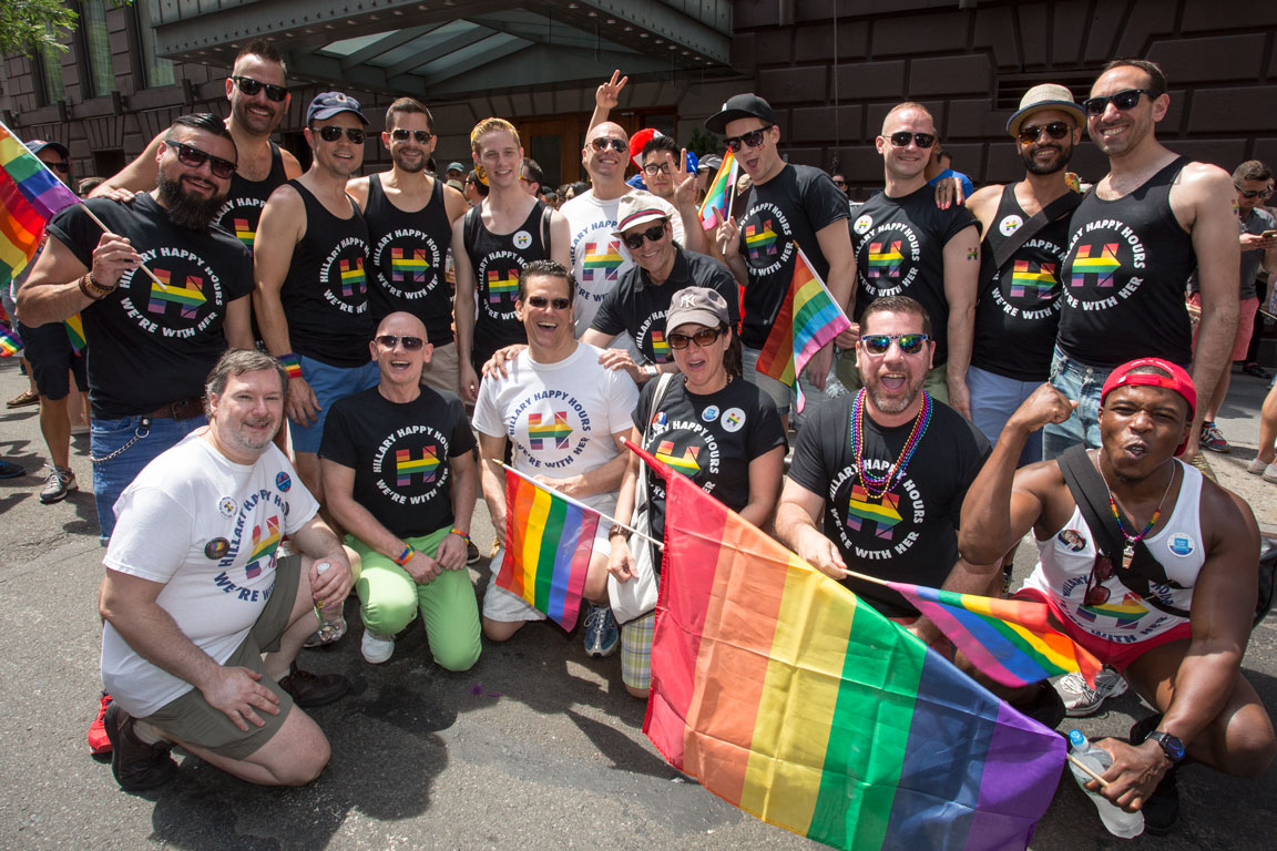 Photo-op at NYC PRIDE Parade with the Hillary Happy Hours crew!  Photo by Kristen Blush.