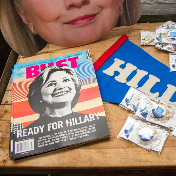 BUST is Ready For Hillary in it's OCT/NOV issue! Here is the magazine photographed at our  final Babes For Hillary meet -up at Home/Made prior to the election. Photo by Kristen Blush.