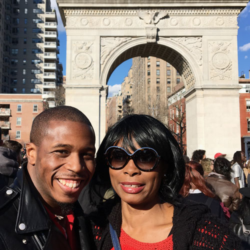 Hillary Clinton Brigade members; Kory Gittens and Suzie McMillan, Washington Square Park.