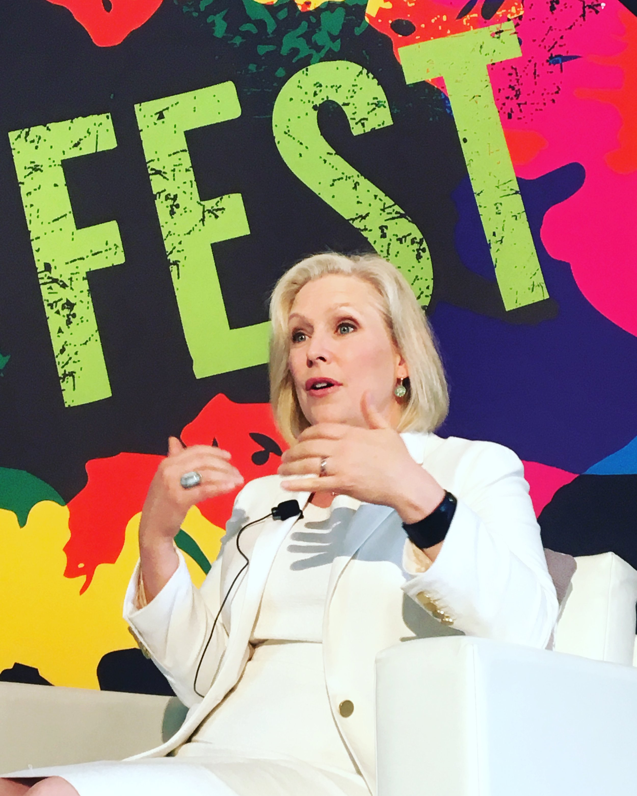 New York State Senator Kirsten Gillibrand discusses Health Care at Ozy Fest Town Hall in Central Park, NYC, July 22, 2017. Photo by Kristen Blush with iPhone 6S.