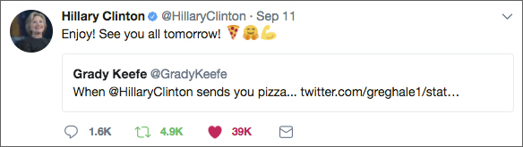 Hillary sent us pizza's and tweeted us shortly after. It was amazing to know she was with us in spirit through the gift of Joe's Pizza.