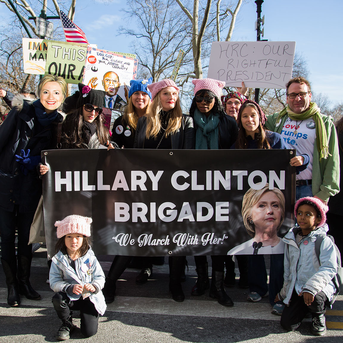 Members from the HRC Brigade gather at West 72nd Street & Central Park West. Photo and banner by  Kristen Blush .