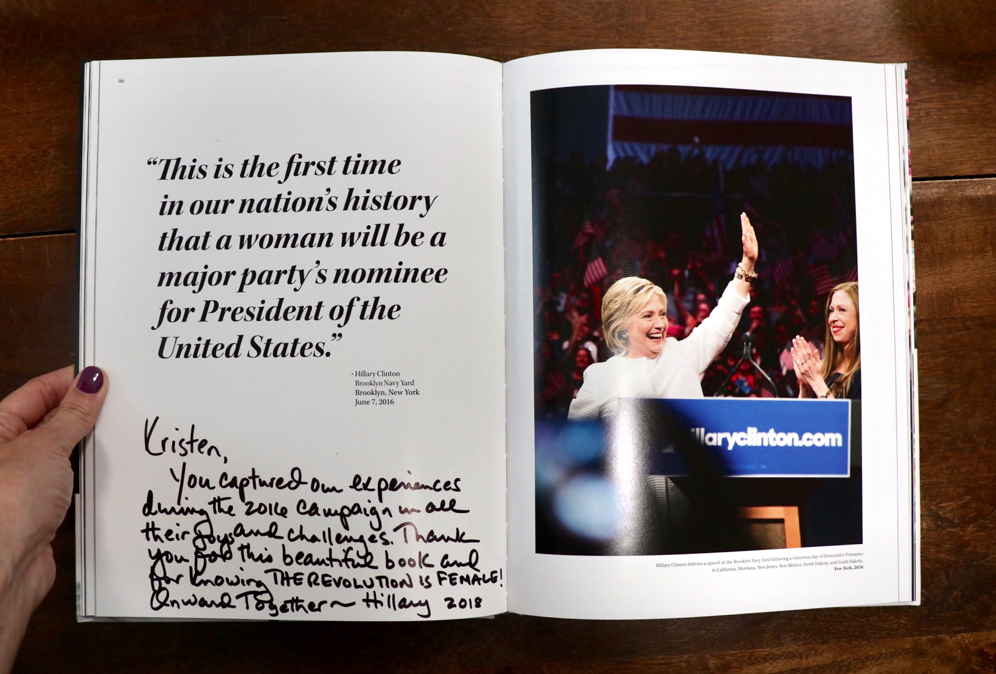 Inspiring words from Hillary Clinton written to Kristen Blush in The Revolution Is Female.