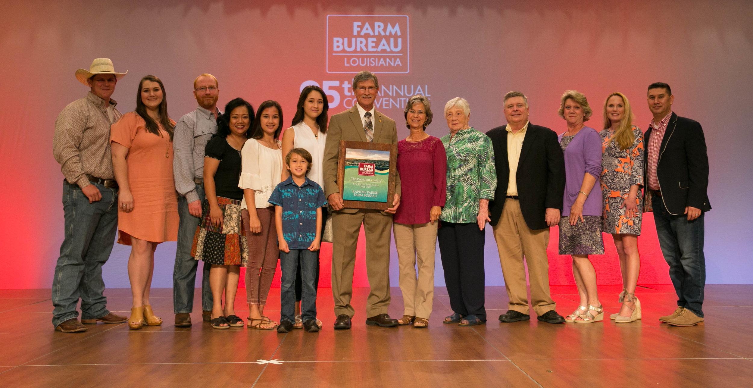 Rapides Farm Bureau delegates celebrate winning the 2017 Louisiana Farm Bureau President's Trophy.