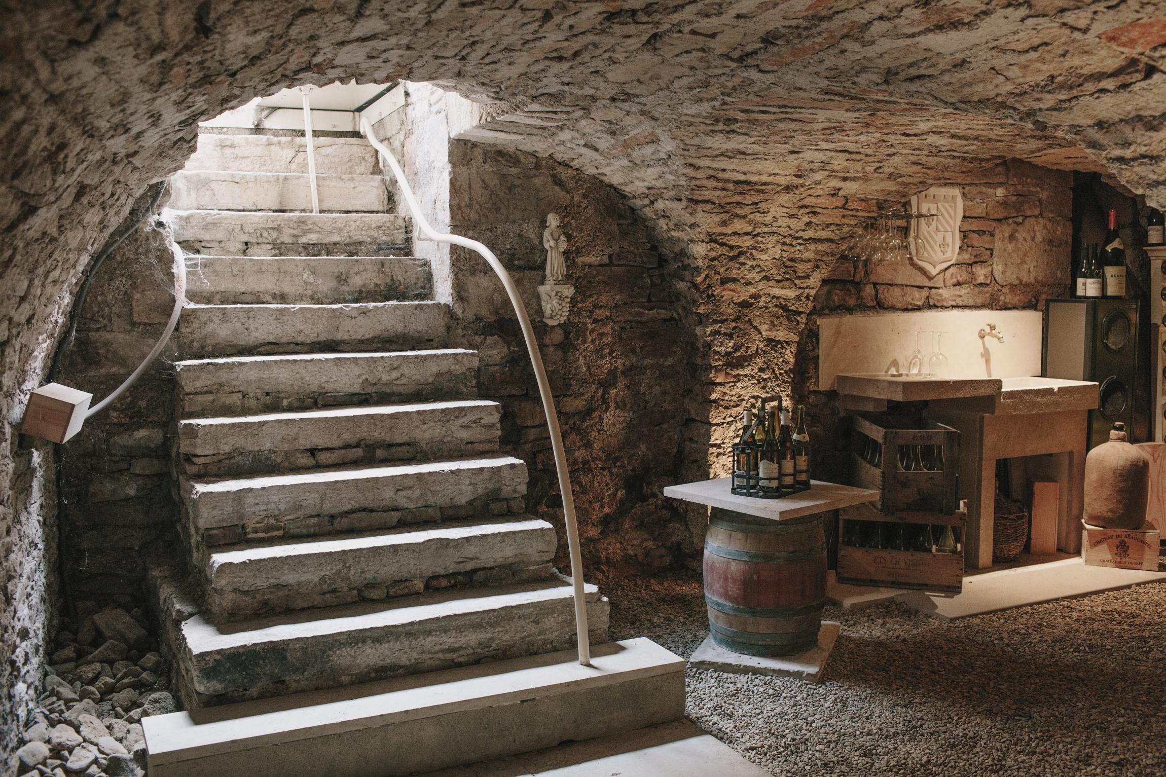 Our 13th century wine cellar under Le Relais de Vieux Beaune in Burgundy, France.