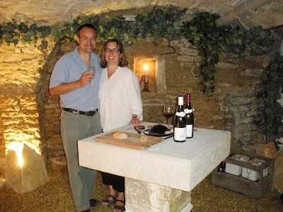 Franck and me in our 13th century wine cellar under the streets of Beaune.  This was taken on a summer trip back to Burgundy just after I'd been diagnosed with PSC in 2012.