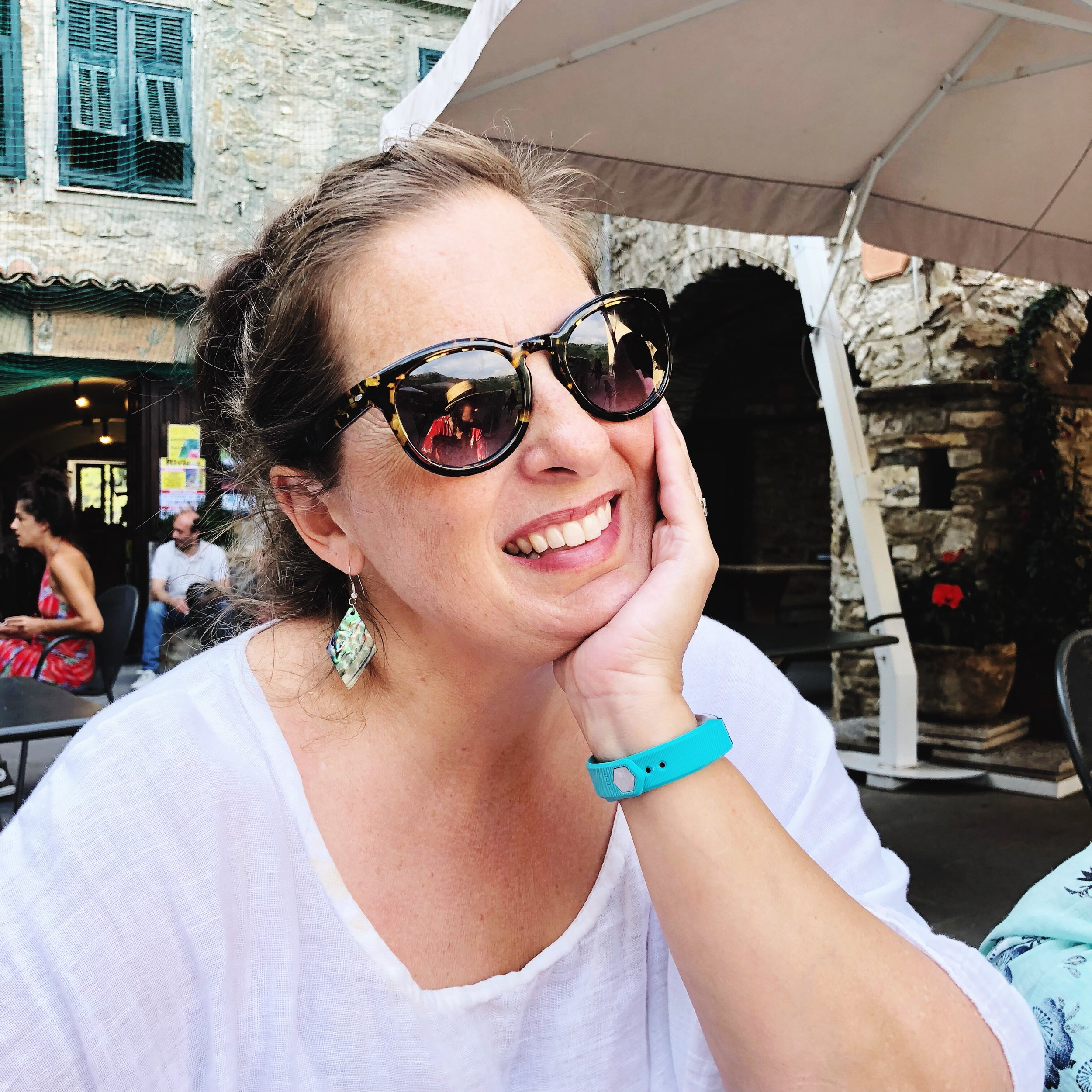 Me having lunch in the piazza in Apricale, Italy.