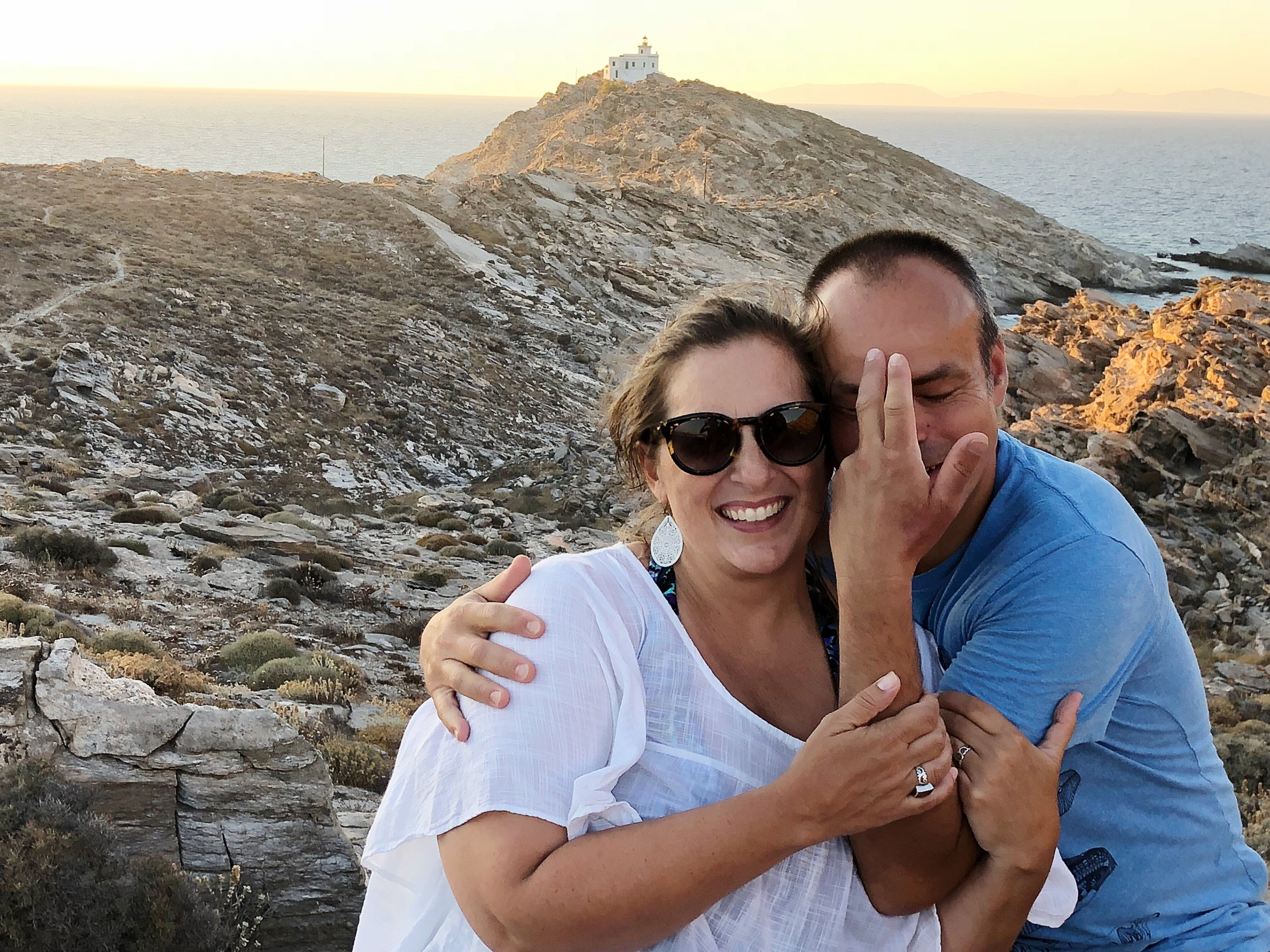 Franck and me goofing off on a mountaintop on the island of Paros, Greece.
