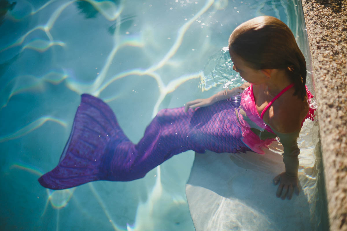 A Young Mermaid with her new Mermaid Tail