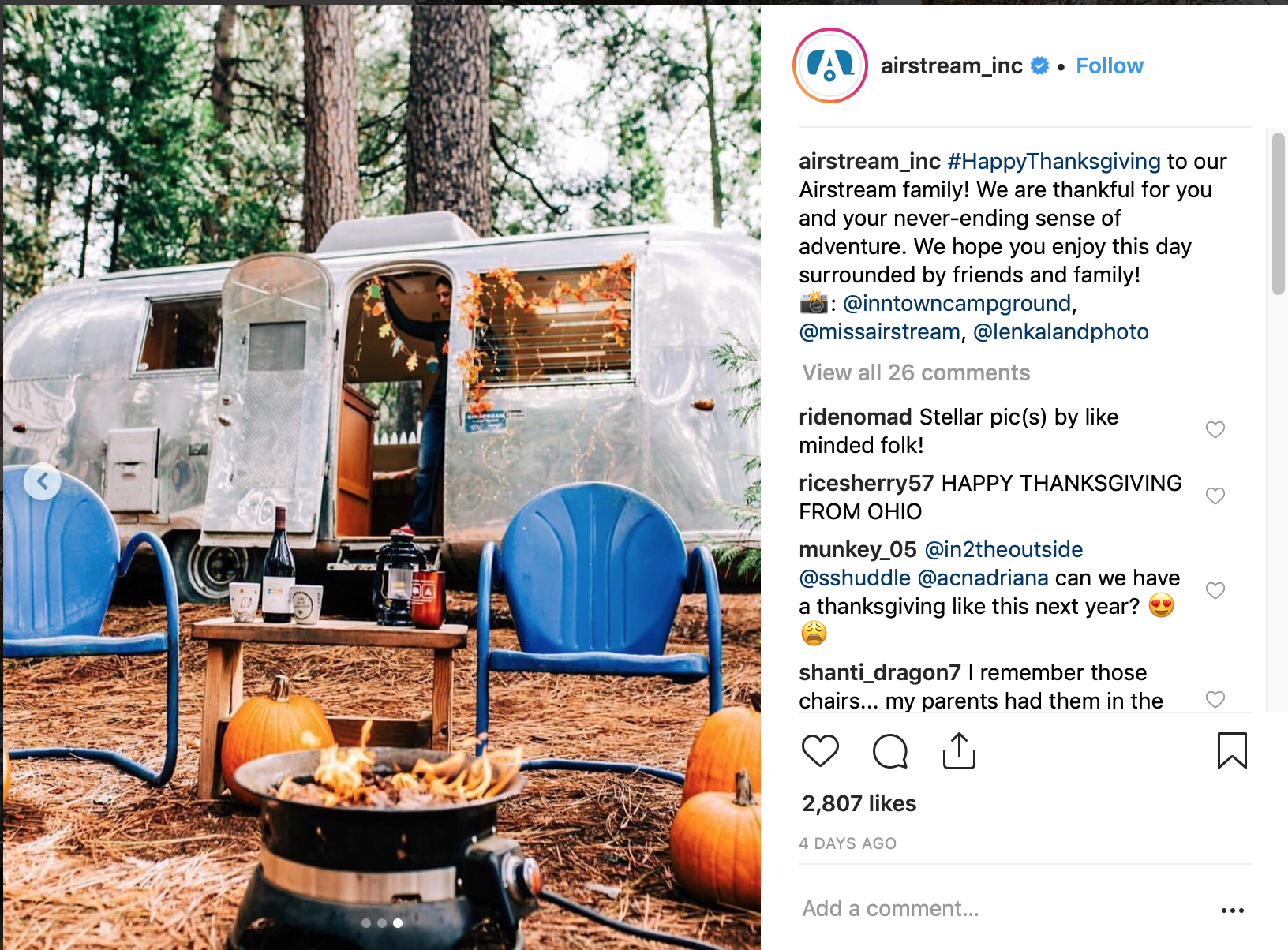 Lenkaland Photography on Airstream's Instagram Feed