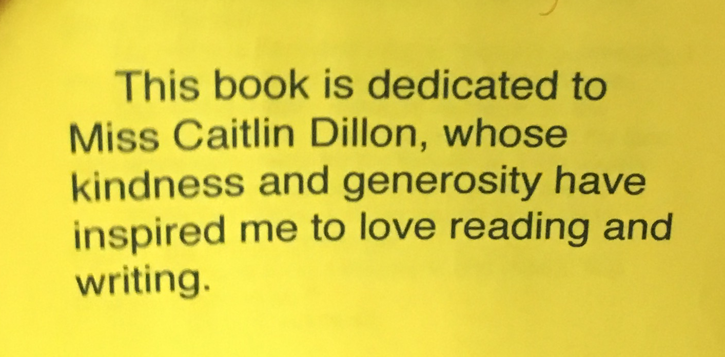 Book dedication for Testimonials