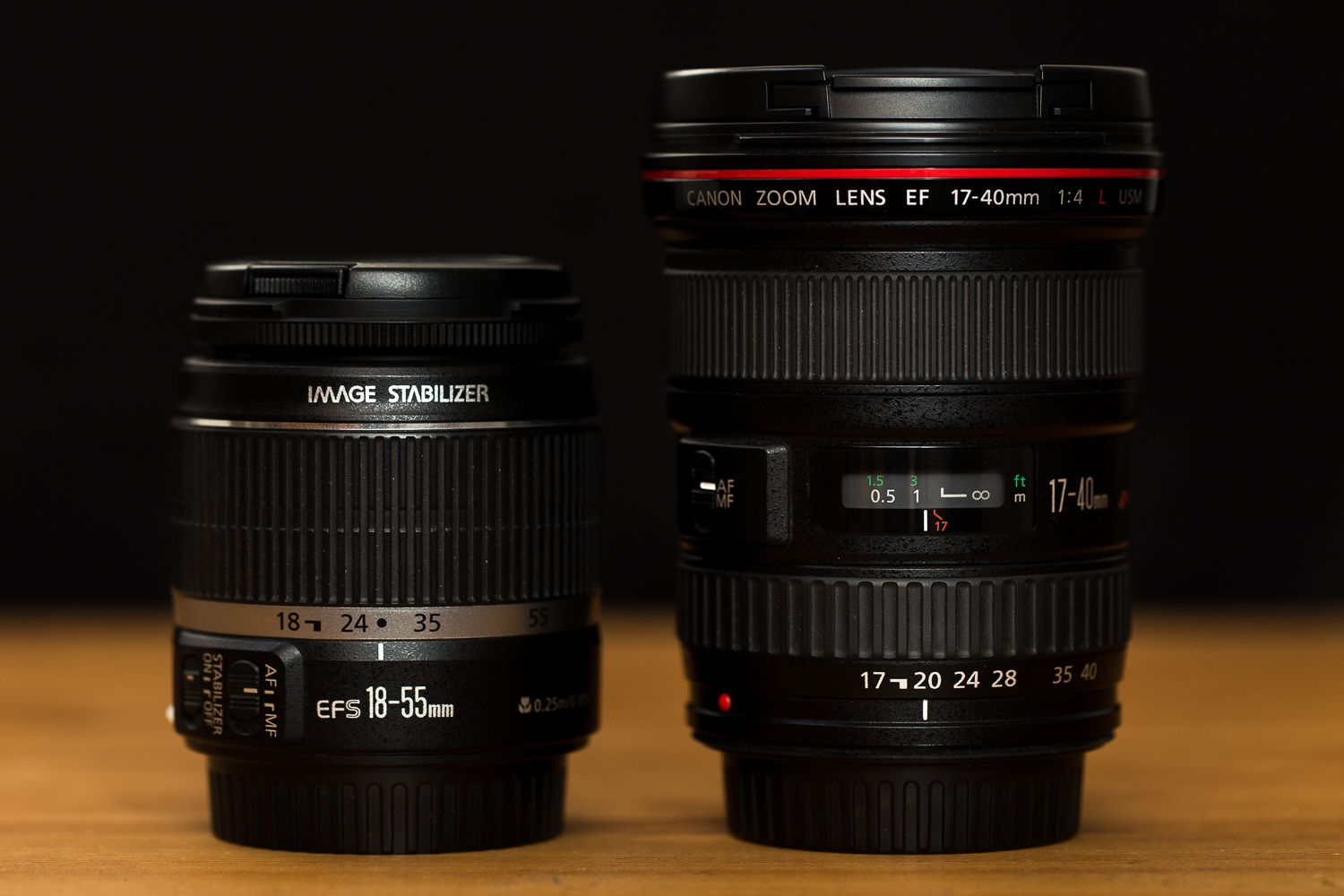 Canon 18-55 IS et 17-40 f/4