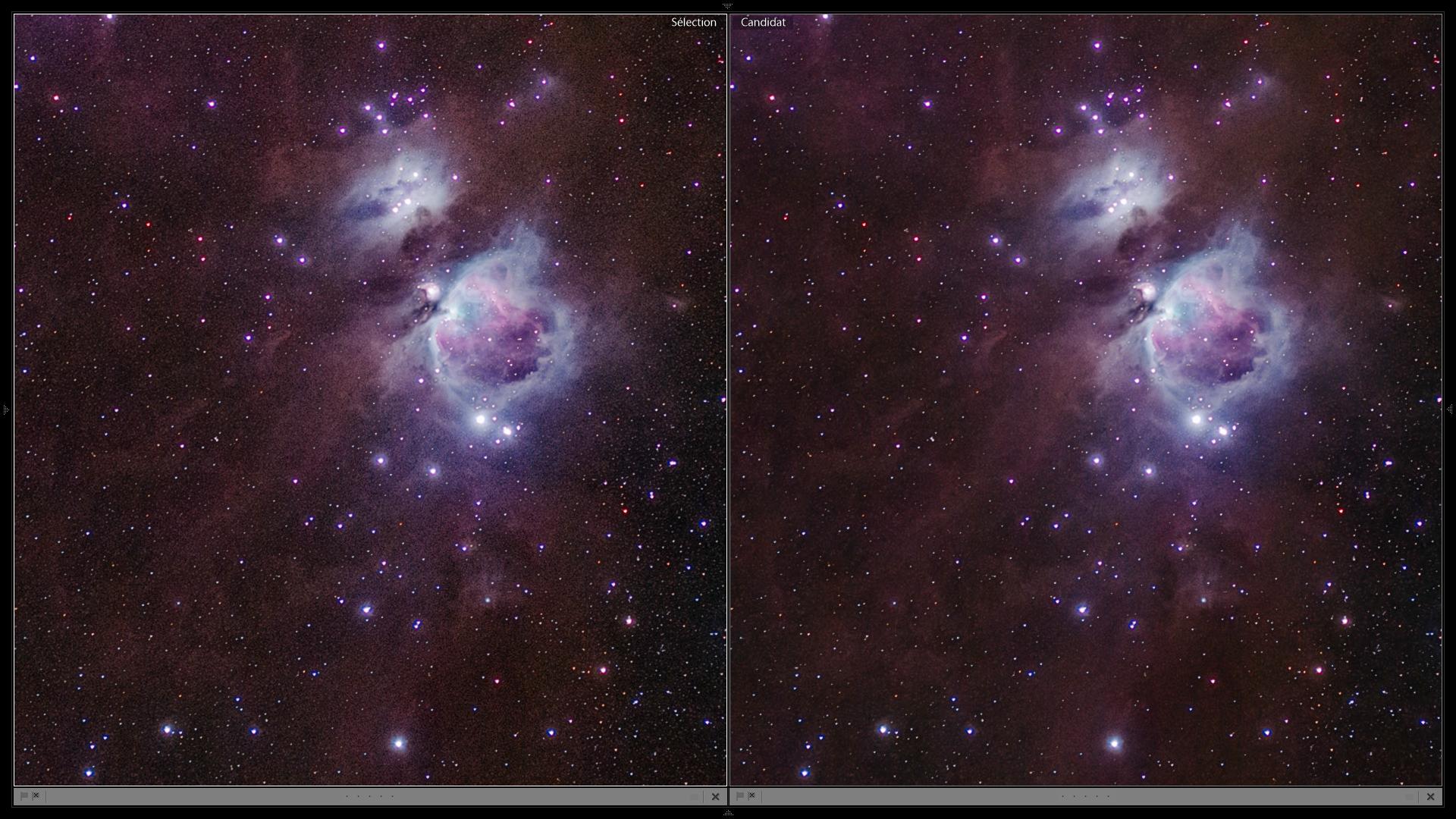 Avant après réduction de bruit sélective Orion