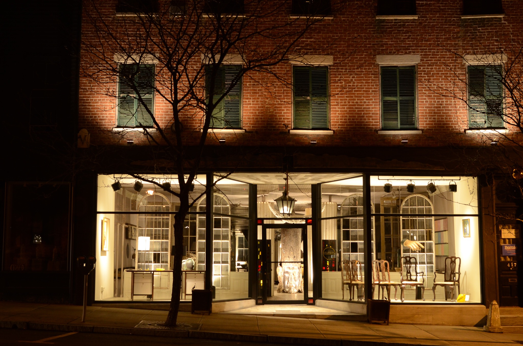 The Tin Ballroom is upstairs at Vince Mulford Antiques. The 19th century building was designed as a Venetian palazzo.