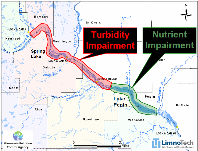 Map showing Upper Mississippi River turbidity impairment contributing to downstream sedimentation in Lake Pepin (red) and Lake Pepin eutrophication impairment from excess nutrients (green). These waterbodies are assessed in separate TMDLs, but jointly affect the health of Lake Pepin.