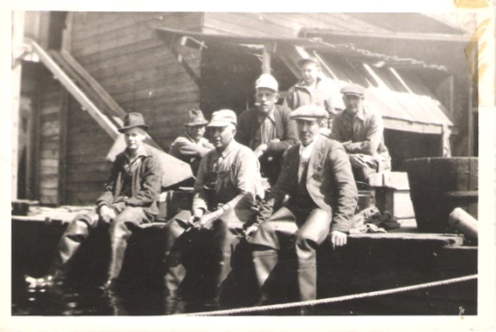 Dosdall fishing crew by the fish shack in 1938