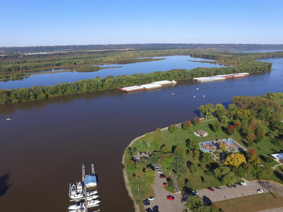 Aerial photo of Bill's Bay Marina and the Lower Mississippi River flowing into the head of Lake Pepin. (Photo credit: Bill's Bay Marina Facebook Page)