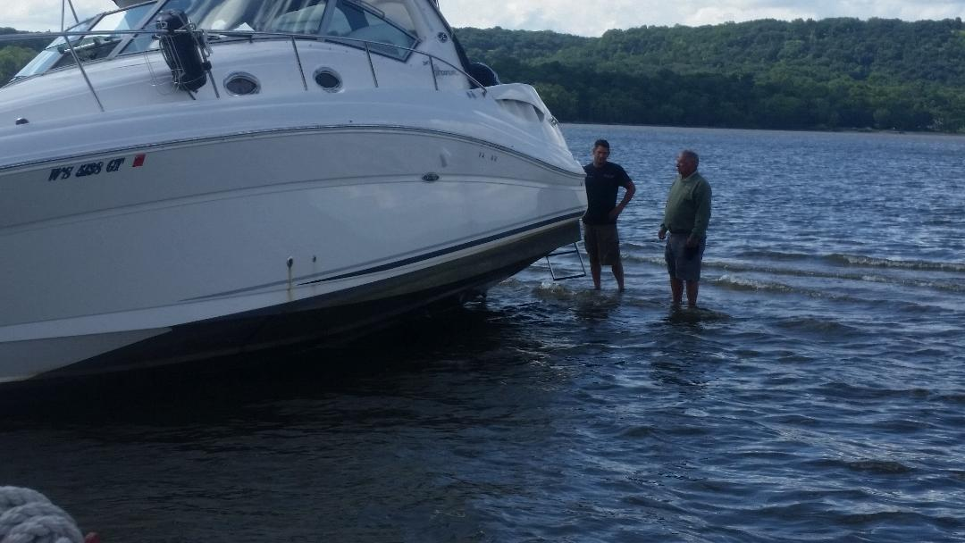 Boaters grounded at the head of Lake Pepin