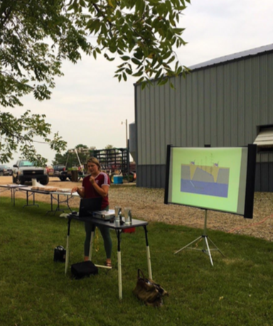 Figure 1. Presenting to farmers at a Cannon River Watershed Partnership event on cover crops.