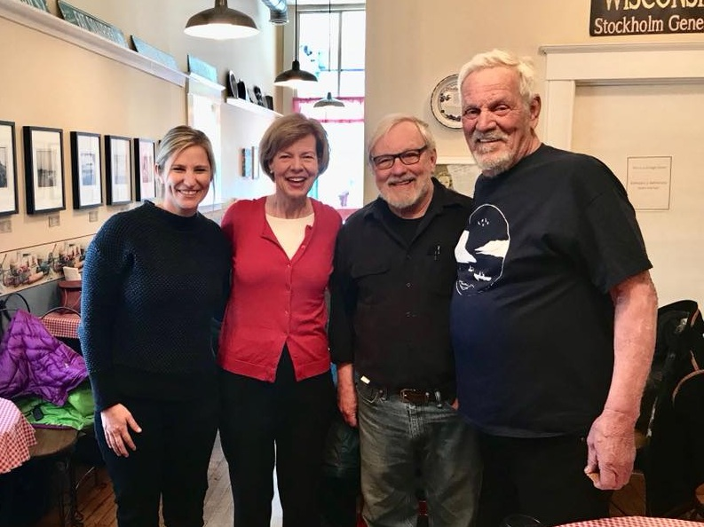 Dave Smith (far right) joins LPLA's Executive Director, Rylee Main, to talk about Lake Pepin restoration with U.S. Senator Tammy Baldwin (D-WI).