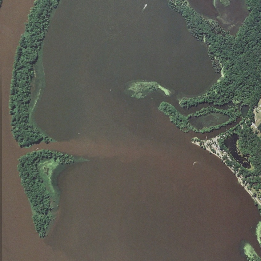 Sediment flowing towards Bay City, WI at the head of Lake Pepin.