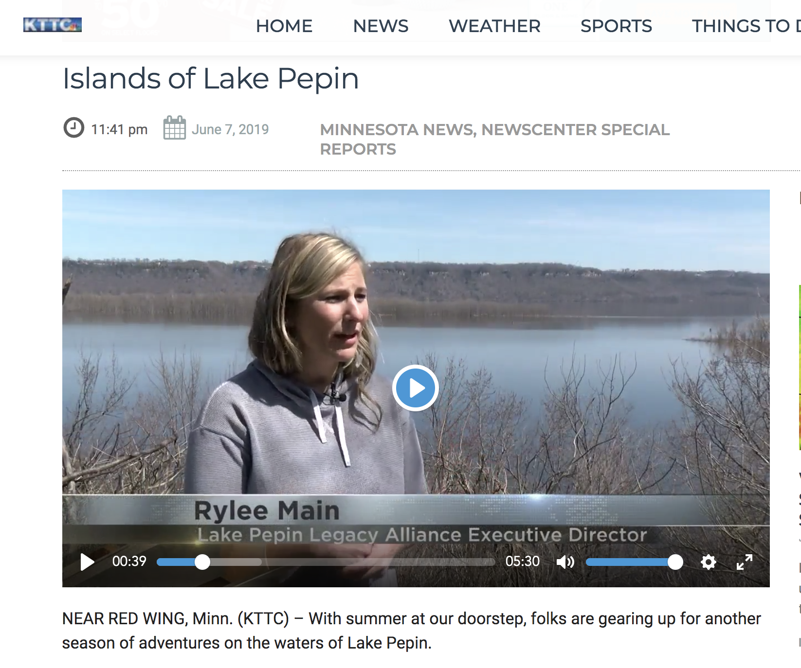 KTTC Lake Pepin Legacy Alliance Restoration