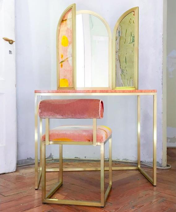 Brass and velvet vanity by secondome design.