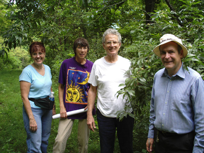 Debbie Winter, Jean Logan, Dean Logan, and Bill Philips spend a day dowsing at Holy Ground Farm.