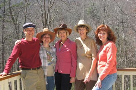 The HGF Crew: Will Morar, Cheryl Lossie, Linda Westman, Jean Logan, and Debbie Winter in their Easter bonnets, Spring 2008