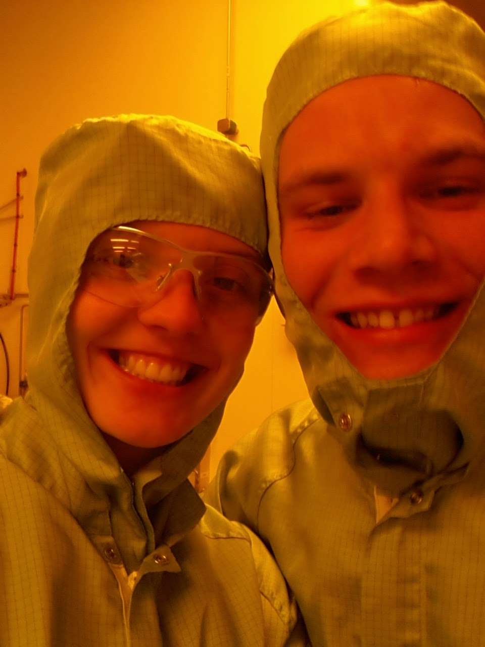 Piotr (one of our process engineers) and I suited up and                                              ready to enter the cleanroom.