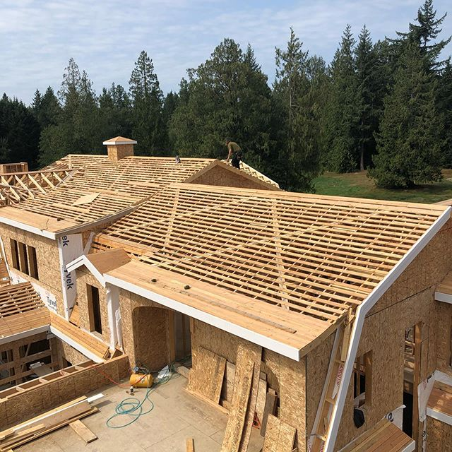 After several phone calls and emails with our structural engineer, he came up with a solution to meet seismic requirements without a fully sheathed roof. In order to get the ventilation we need under the cedar shakes, we would have had to double strap the sheathing — which would have been time consuming, costly, and likely not as effective for the long term durability of the cedar. The solution involved diagonal bracing and coil straps, which is still plenty of work for @gouletdevelopments , but a big win for the home and the budget. It's important for builders and framers to keep asking questions from the professionals we hire, because there could always be a better way! #norconbuilt #graceacres @monikahibbs @troyhibbs