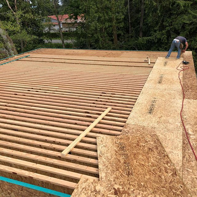 """Big clear spans call for big joists — and lots of them! These are 16"""" TJIs on 8"""" centers. Oh, the two wider centers you ask? ... that's because we care about our plumber and require this space for a toilet and shower. #norconbuilt @gouletdevelopments @mariejoydesign"""