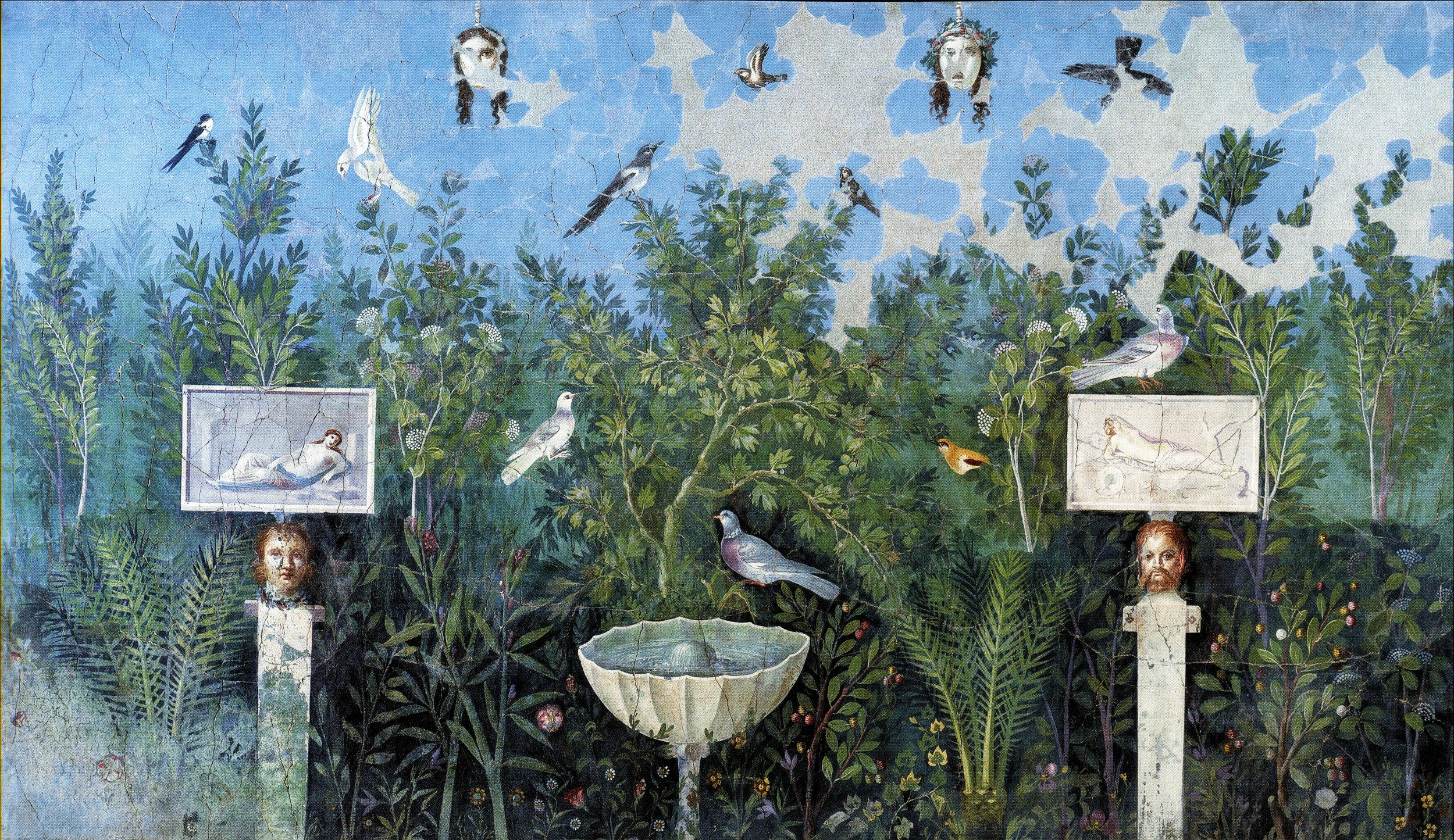 Garden Scene  in the  exedra , House of the Golden Bracelet, Pompeii