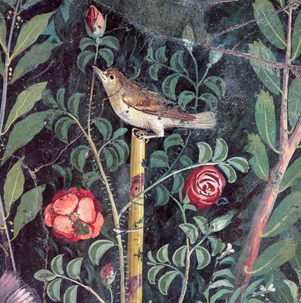 Detail from Garden Mural, House of the Golden Bracelet, Pompeii