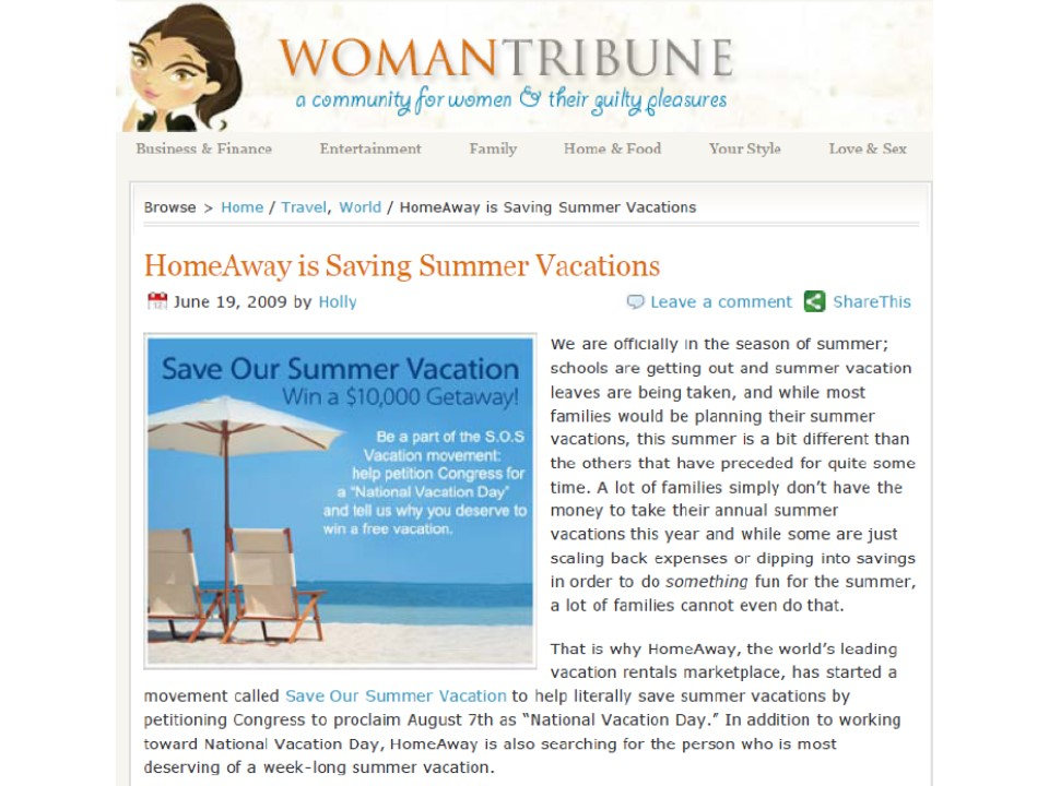 Save Our Summer Vacation
