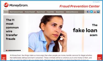 MoneyGram anti-fraud website