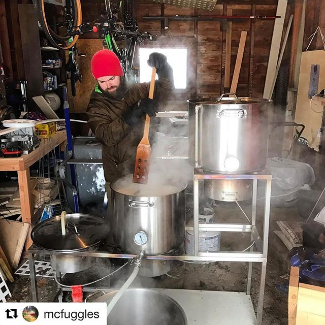 #Repost @mcfuggles with @get_repost ・・・ @randomlyskunky will not rest to ensure that @fullbarrelcoop has enough beer for upcoming events. #snowday #brewday #vtbeer