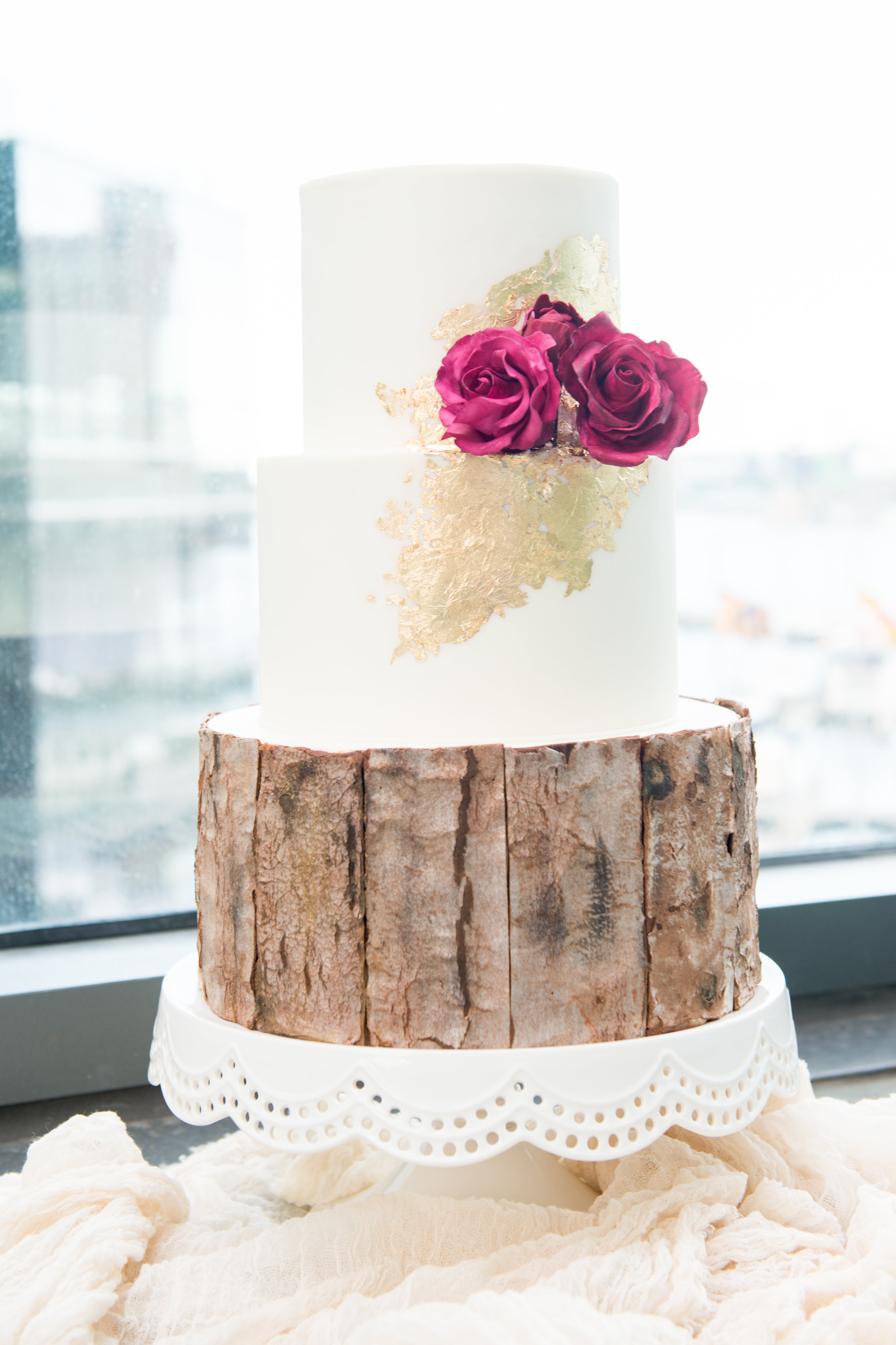 Rustic gold wedding cake