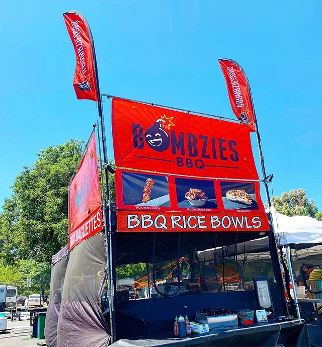 There's rice bowls out there and there's @bombziesbbq. Taste the difference! At @norcalnightmarket Today, Saturday, and Sunday!  Find the red flags and our smoke signal. Of course if you can't make to this event you can find our foodtruck with the @offthegridsf team at @oaklandmuseumca till 9pm as well.  #hashtagsgohere #theoriginalbbqricebowl #bombziesbbq #hellabombzies #norcalnightmarket2019 #thereslevelstogame #bbqricebowl #asiangrill #asianbbq #sanfrancisco #oakland