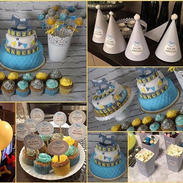 Słodki stół cały do schrupania. Wspaniałe babeczki, piękne torty i kilka naszych papierowych cudeniek. @szczesliwa_mamamarcelka dziękujemy i pozdrawiamy :-) #socutepl #slodkistol #bufet #slodkosci #urodziny #urodzinki #konik #koniki #bdayparty #partytime