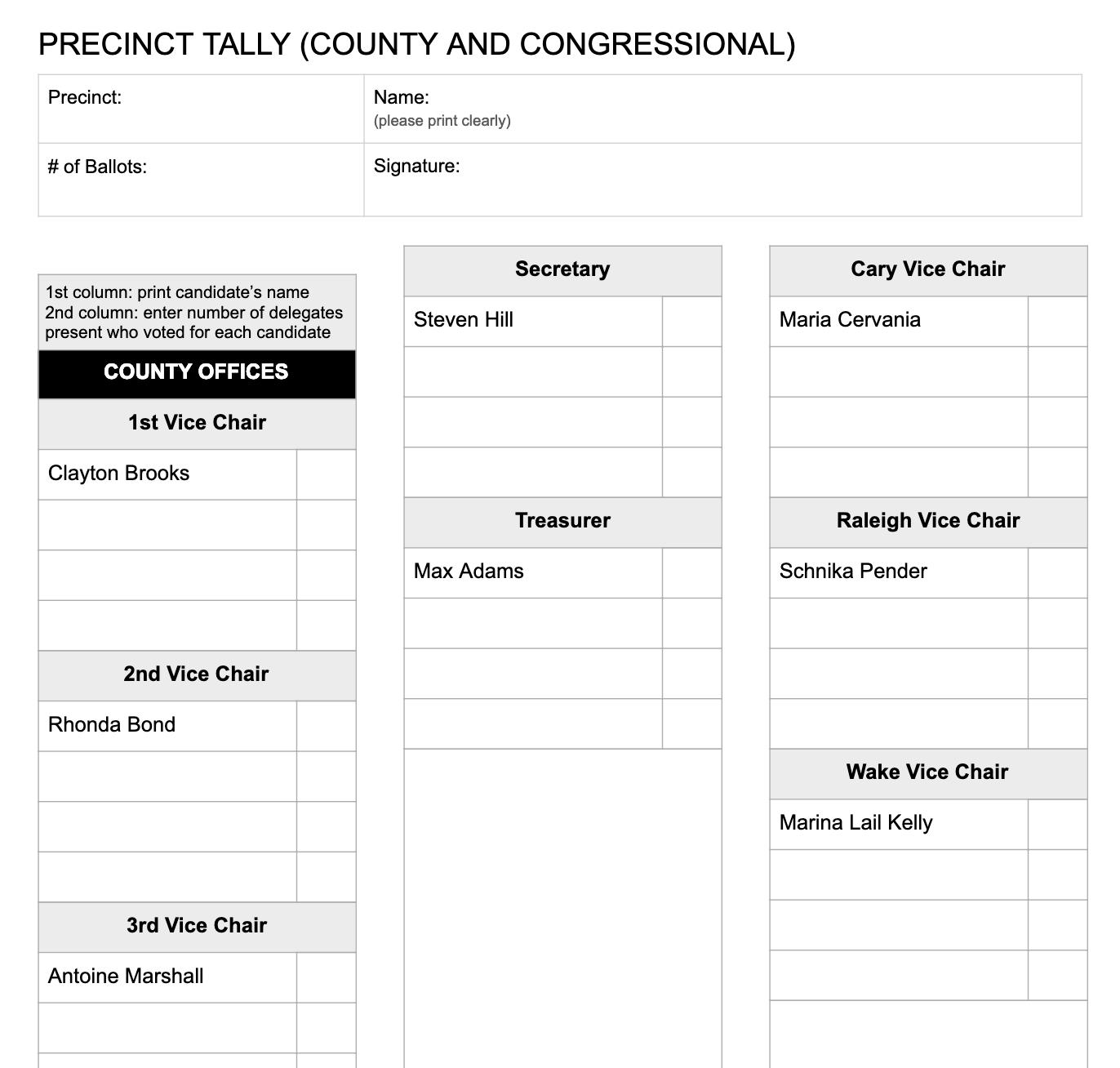 Precinct Tally (FRONT)