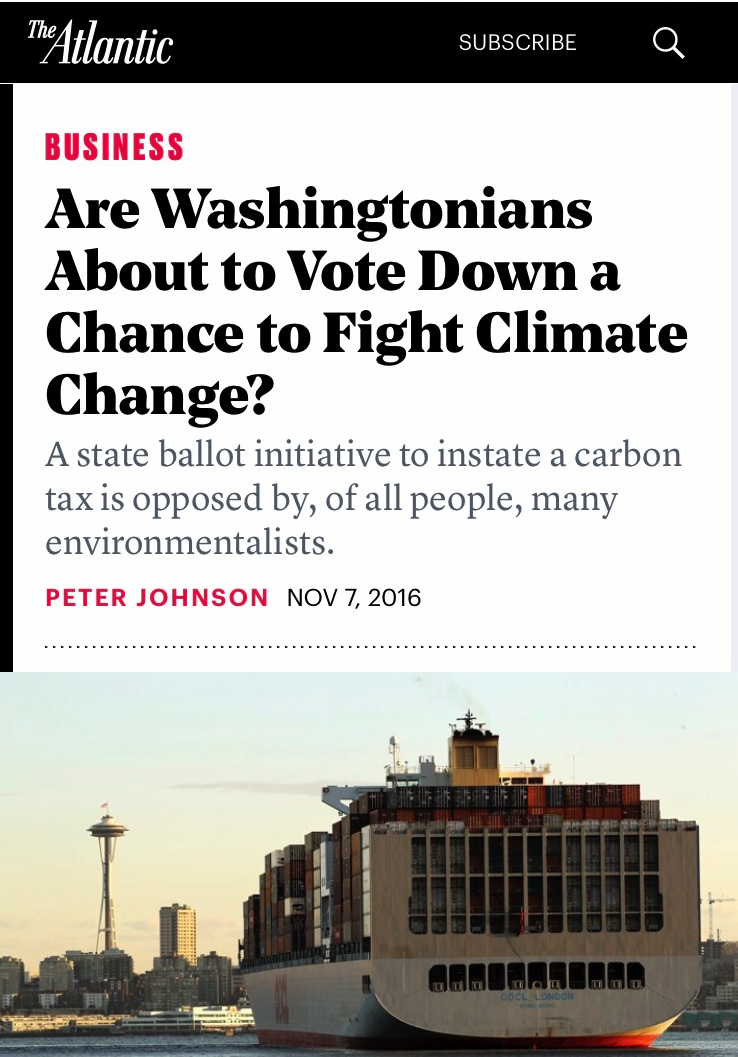 - A feature about the fraught politics of Washington's would-be carbon tax foreshadowed fights about the so-called Green New Deal.