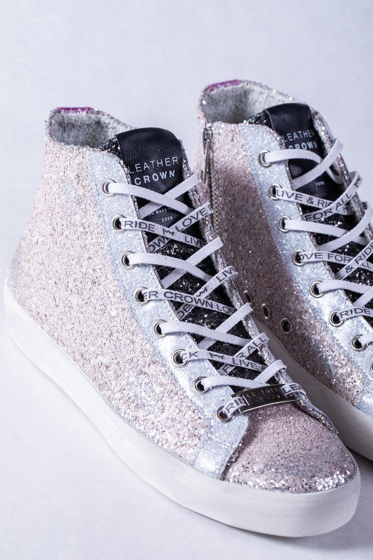 33b7a824b79c Leather Crown Rose & Silver Glitter High Top Sneaker — Portobello Road