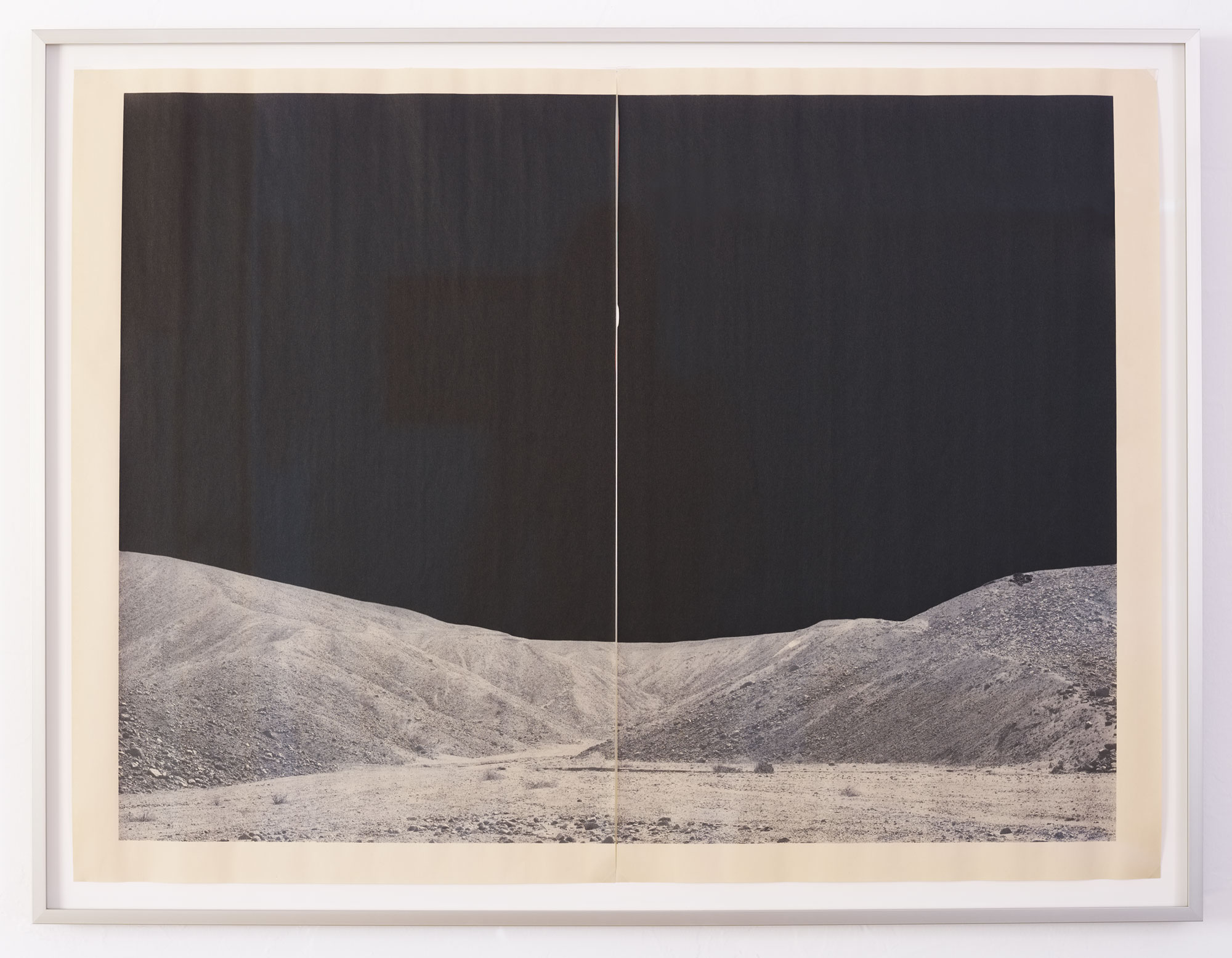 DV_7315, u nique diptych pigment print on newsprint,aluminum artist frame,26.25 x 35.25 inches