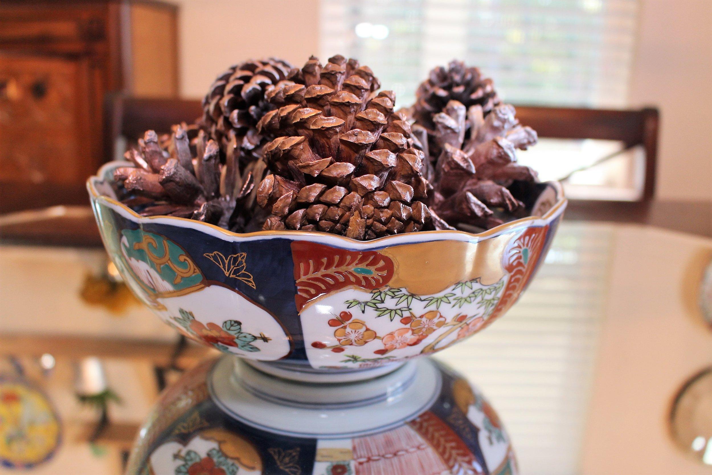 DIY Gold and Copper Pine Cones