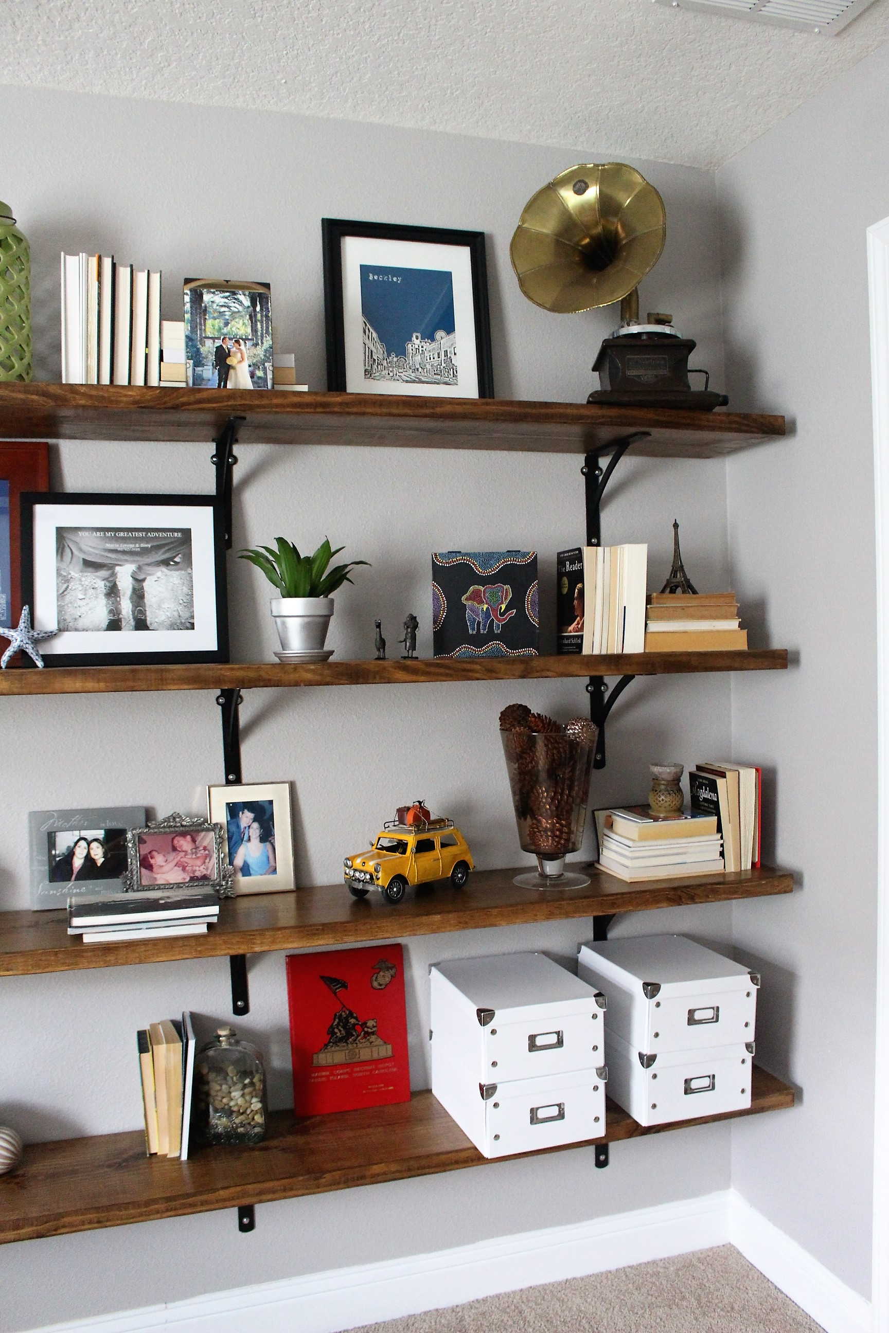 storage on open shelving