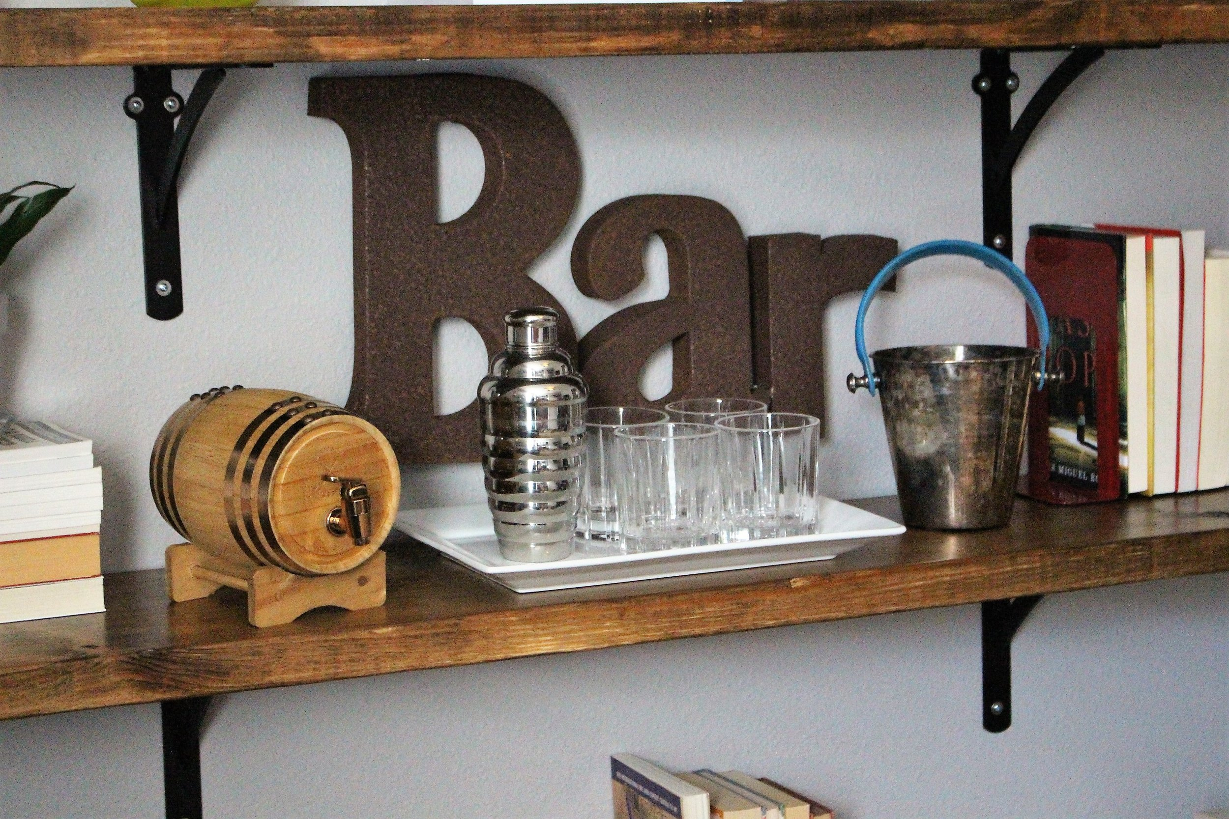 bar shelf area in home office