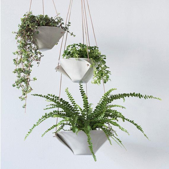 Fold Bowl Hanging Porcelain Planters - $48+