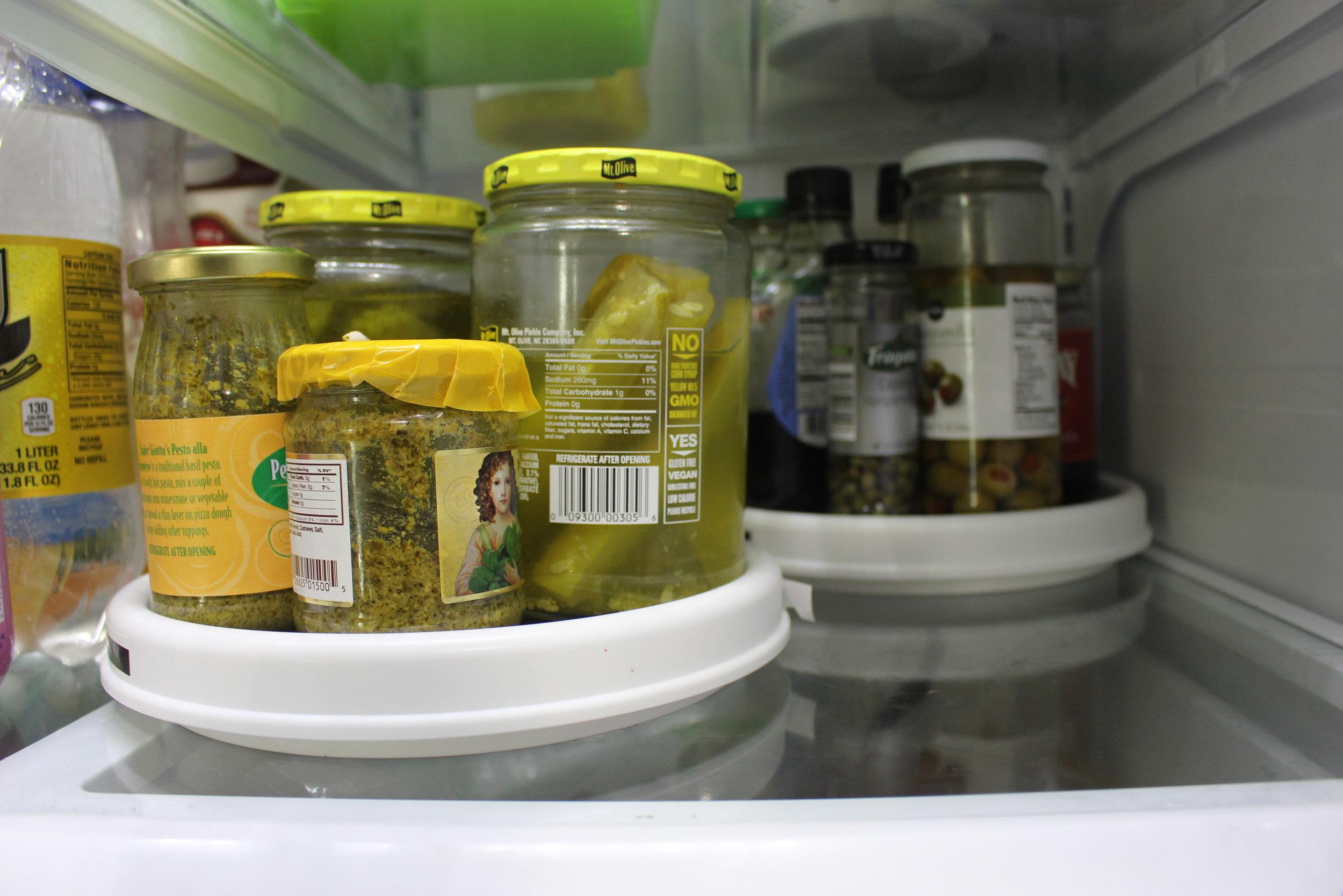 Using lazy susan's to help organize your fridge